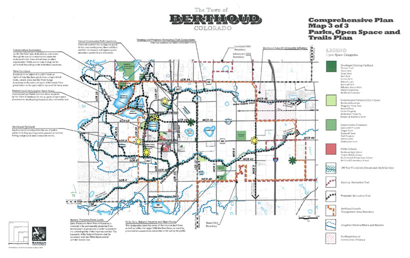 Berthoud Colorado P.O.R.T. (Parks, Open Space, Recreation, And Trails) Map